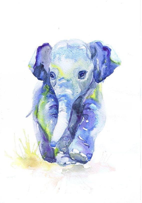 570x813 Baby Elephant Art, Watercolor Painting, Baby Boy Nursery Decor