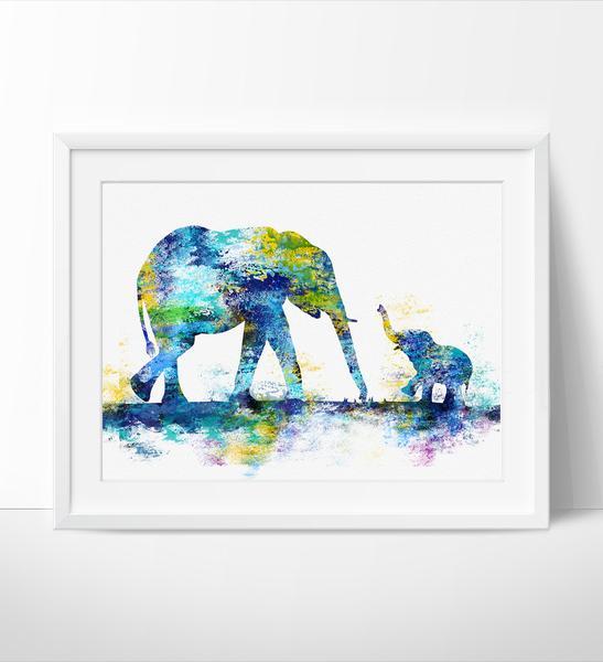 547x600 Large Abstract Painting, Elephant Art Print, Elephant Abstract Art