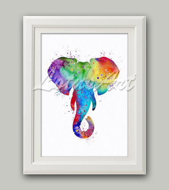 570x641 Colorful Elephant Wall Art Elephant Head Wall Decor Elephant Etsy