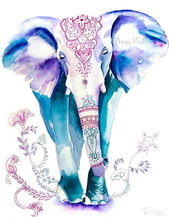 570x737 Elephant Painting Animal Watercolor Animal Print Elephant Etsy