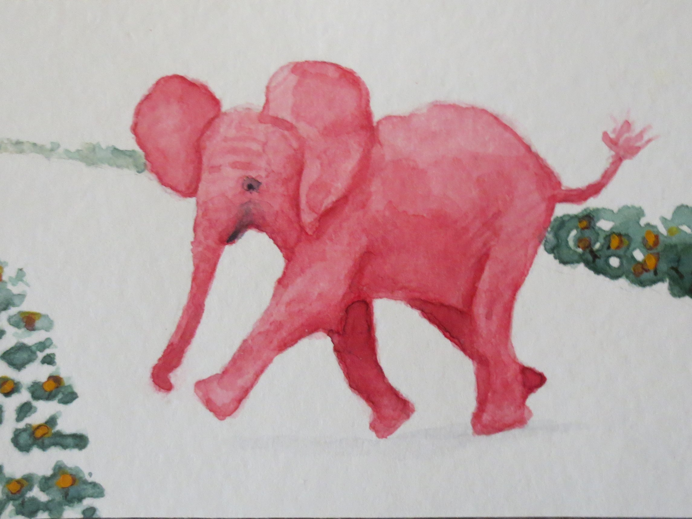 2290x1718 Red Baby Elephant Walking Across Road By Addison Aceo Original
