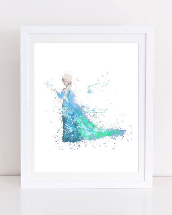 570x713 70% Frozen Elsa Watercolor Poster Frozen Printable Disney Etsy