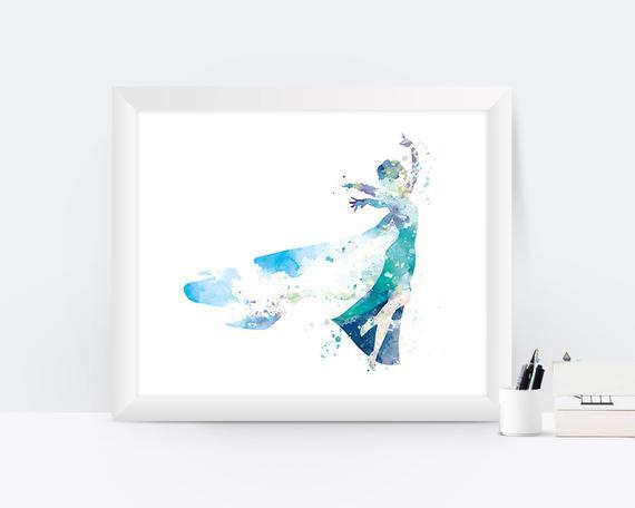 570x456 Elsa Princess Art Print Watercolor Frozen Wall Art Frozen Elsa Etsy