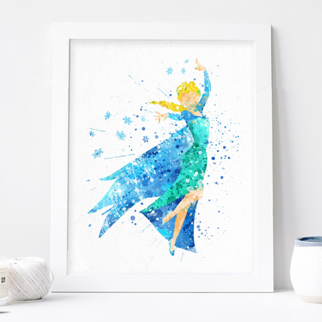 1024x1024 Elsa Print, Frozen Disney Watercolor Nursery Wall Decor, Disney