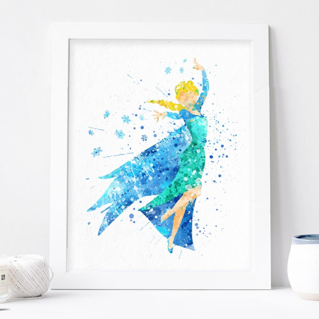 1024x1024 Elsa Print, Frozen Disney Watercolor Nursery Wall Decor, Disney