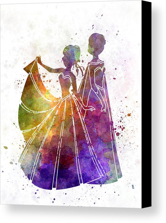 559x750 Elsa The Snow Queen And Anna In Watercolor Canvas Print Canvas