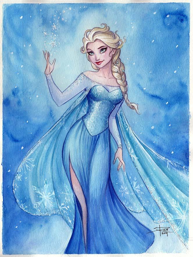 664x886 Elsa Watercolor By Sabinerich