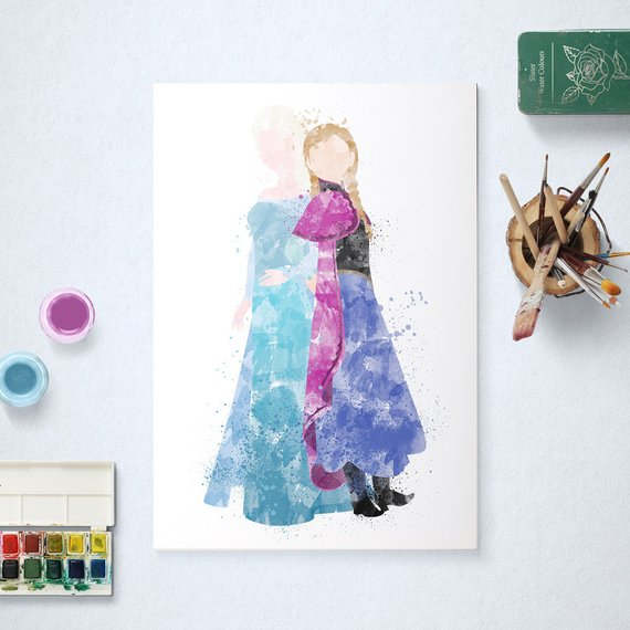 570x570 Elsa And Anna, Disney Princess, Frozen Poster, Watercolour Art