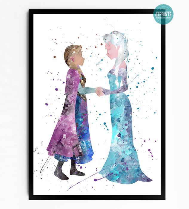 633x700 Frozen Watercolour Art Print