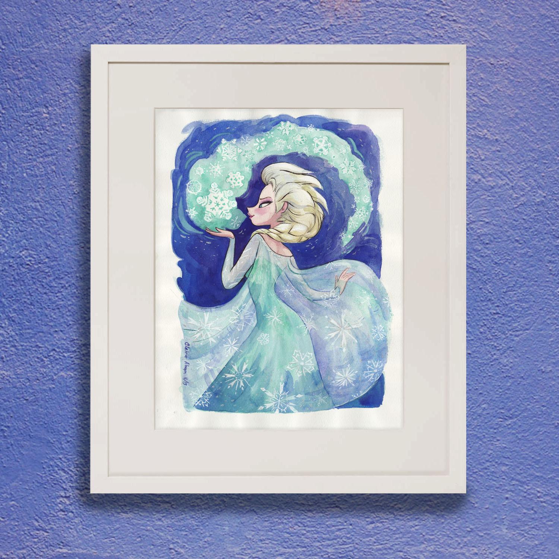 1500x1500 Frozen Elsa Painting Original Watercolor
