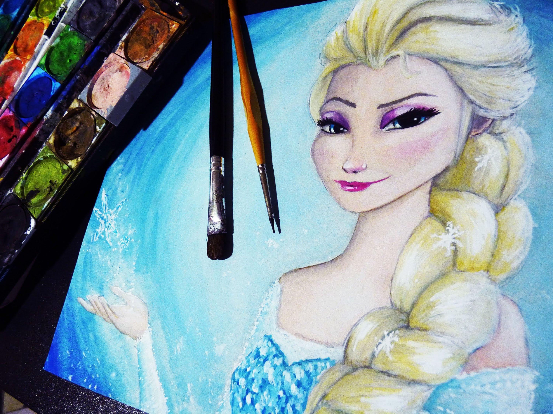 3000x2250 Frozen Elsa Watercolor Time Lapse Painting