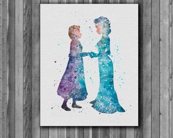 570x456 Frozen Paintings Lovely Elsa And Anna Disney Watercolor Frozen Art