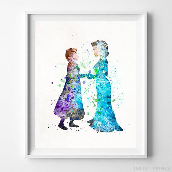 570x570 Frozen Watercolor Elsa Art Elsa Poster Disney Poster Elsa Etsy