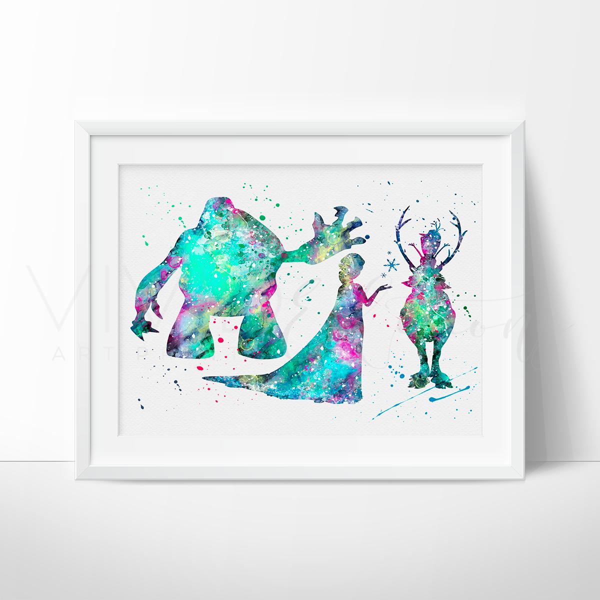 1200x1200 Marshmallow, Princess Elsa, Sven And Olaf Frozen Nursery Art Print