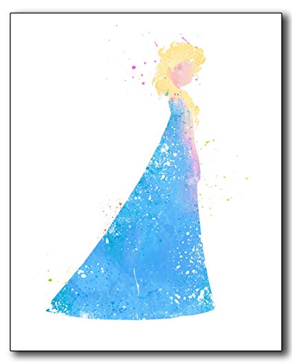 425x531 Elsa Frozen Disney Princess Watercolor Photo Prints