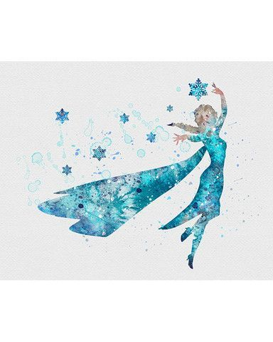 384x480 Princess Elsa, Frozen Watercolor Art Print Elsa And Disney Art