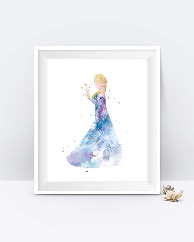 642x803 Princess Elsa Art Print Watercolor Printable Frozen Wall Art Etsy