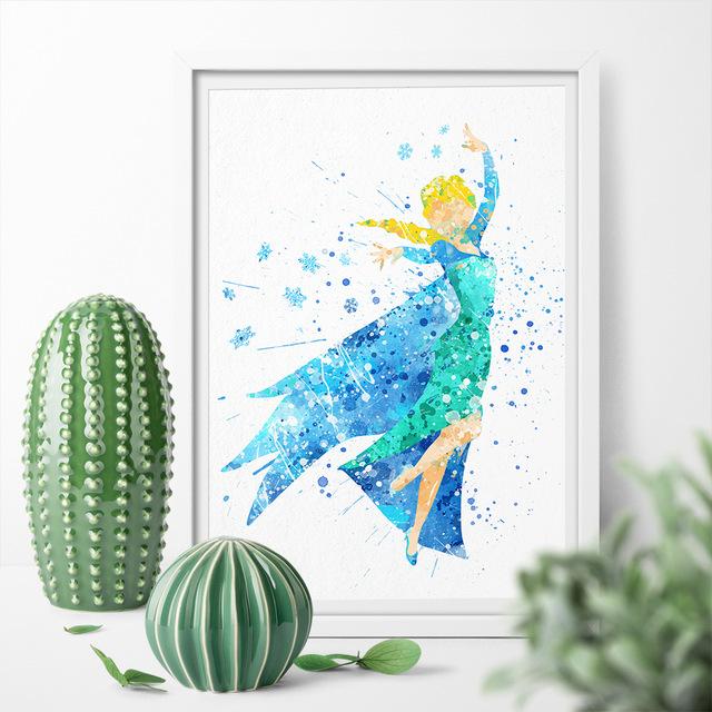 640x640 Watercolor Cartoon Princess Beauty Frozen Elsa Cute Girl Wall Art