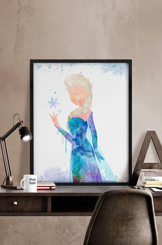 570x859 Watercolor Elsa, Frozen Watercolor, Disney Frozen Print, Frozen