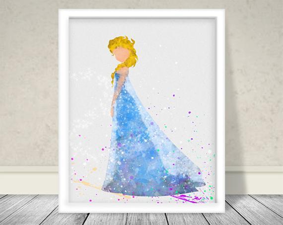 570x453 Watercolor Elsa Inspired Art Disney Princess Art Disney Art Etsy