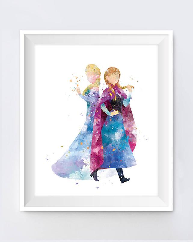 642x803 Anna Elsa Print Watercolor Princess Disney Anna Queen Elsa Etsy