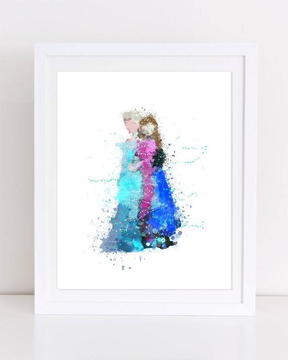 570x713 Disney Frozen Elsa Frozen Anna Poster Watercolor Disney Etsy