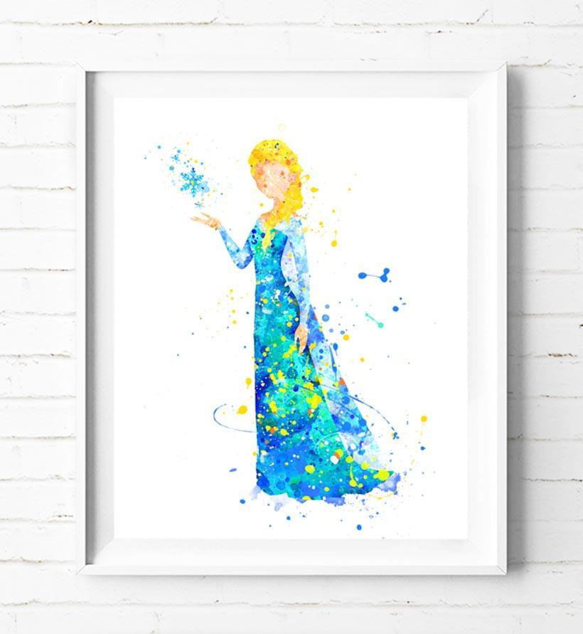 820x891 Disney Frozen Princess Elsa Art Print Poster Watercolor Painting