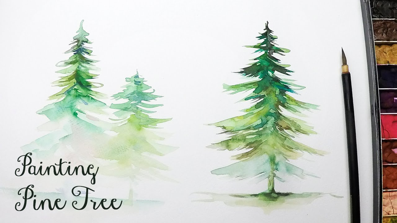 1280x720 Lvl3] How To Paint A Pine Tree In Watercolor
