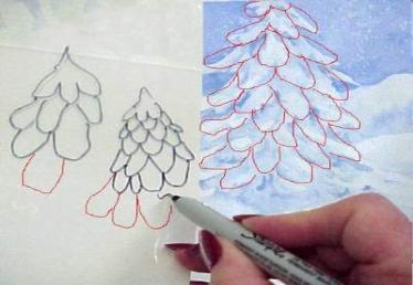 374x258 Painting Snow On Evergreens