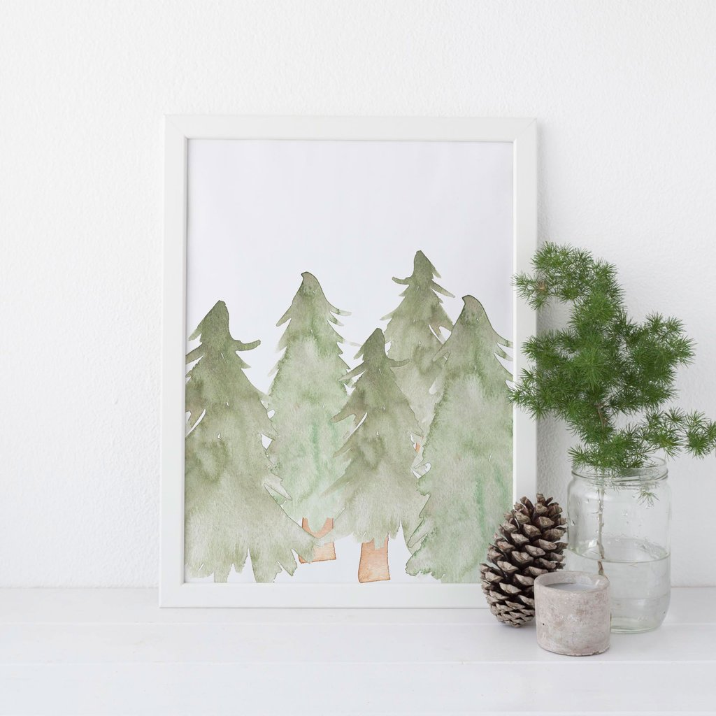 1024x1024 Watercolor Evergreen Trees Wall Art Digital Download Jetty Home