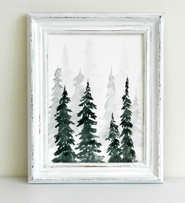 650x712 Watercolor Pine Trees Tutorial How To Paint A Wintery Forestscape