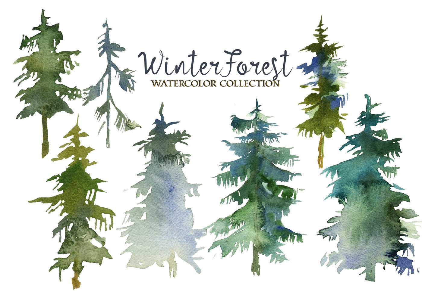 1400x1000 Winter Forest Watercolor Clipart