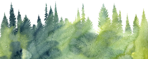 600x240 Watercolor Landscape With Trees