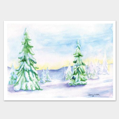 500x500 Christmas Watercolor Cards Landscape Trees Set Of 10 Susan Windsor