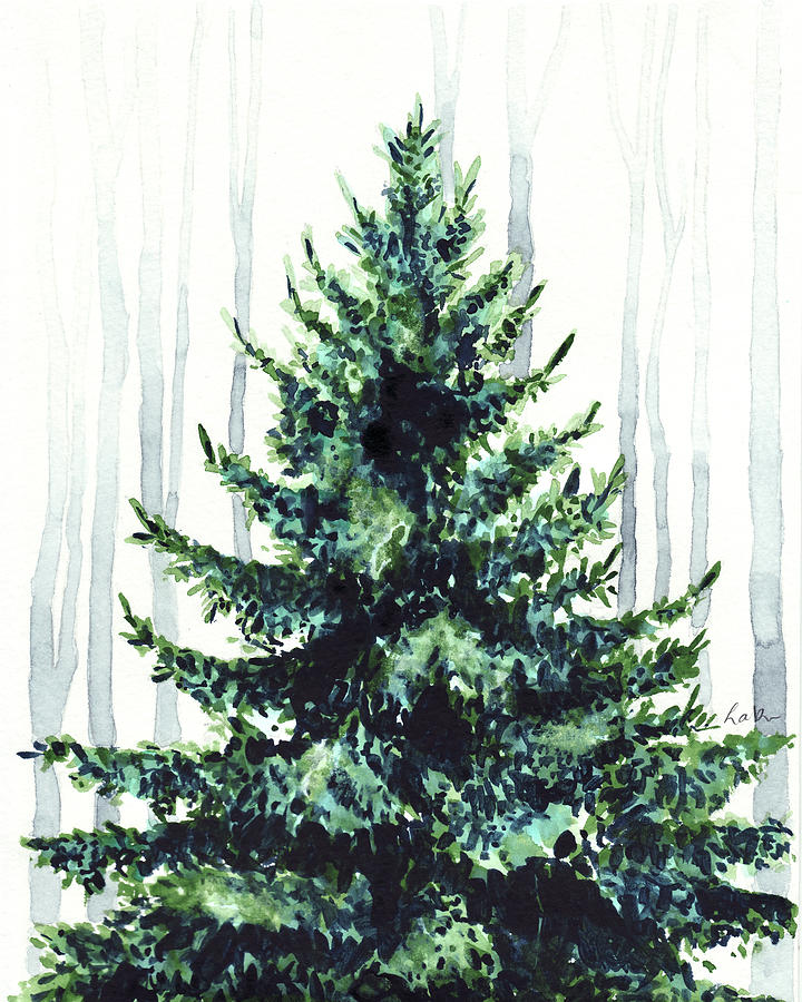 720x900 Evergreen Tree In Winter Woods Watercolor Painting Christmas