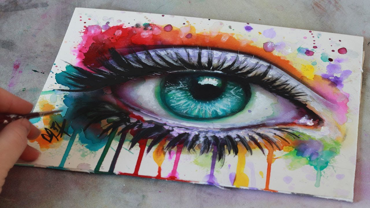 1280x720 Painting Eyes In Watercolor Speed Painting Mixed Media Surreal