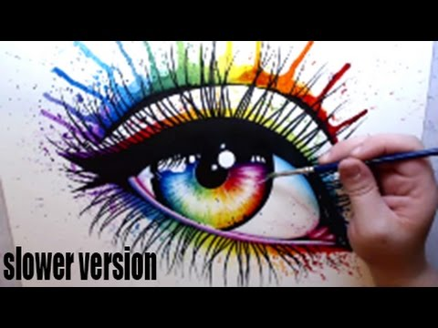 480x360 Rainbow Eye Watercolor Painting