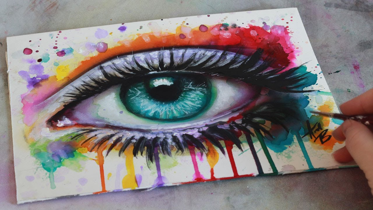 1280x720 Speed Painting Mixed Media Surreal Abstract Eye Watercolor And