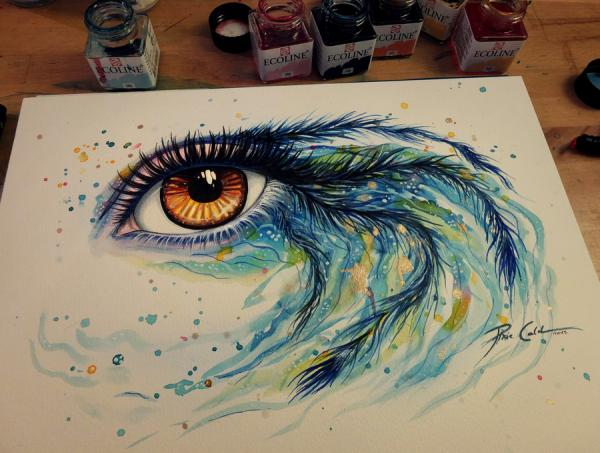600x453 Watercolor And Acrylic Paintings Of Eyes By Svenja