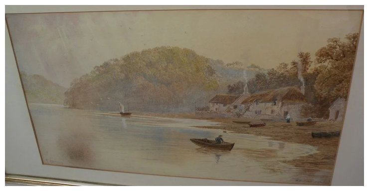 740x383 F. Walters 19th Century English Watercolor Landscape Painting Of