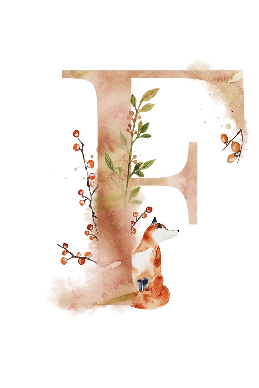 1050x1575 Urban Sassafras F Watercolor Letter Print From Illinois By Urban