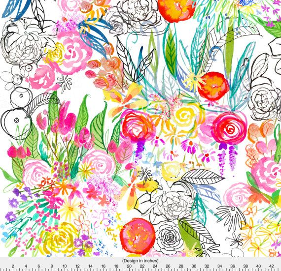 570x551 Flower Print Fabric Designs Watercolor Floral Fabric Botanical