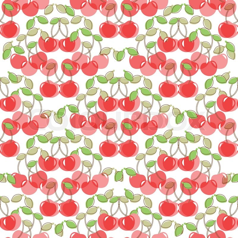 800x800 Seamless Pattern With Watercolor Berry Cherry. Endless Repeating