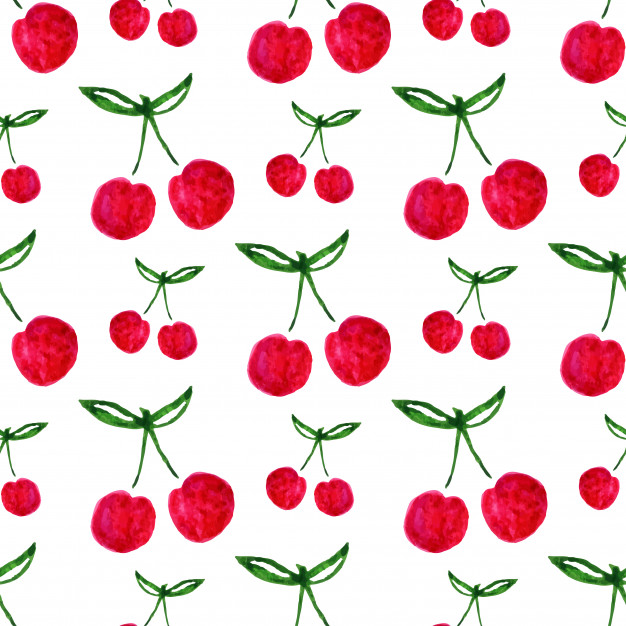 626x626 Seamless Pattern With Watercolor Cherry. Endless Print Background