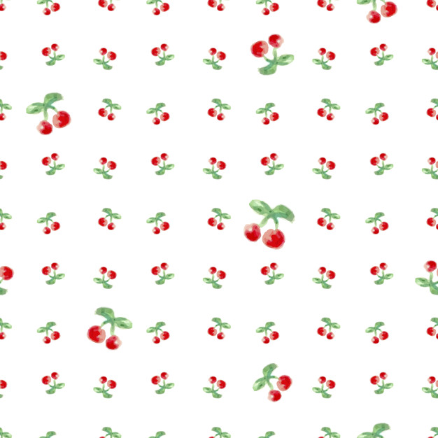 626x626 Seamless Pattern With Watercolor Cherry. Endless Repeating Print