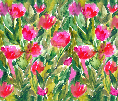 470x403 Watercolor Tulips Flowers Fabric Design. Floral Aquarelle Pattern
