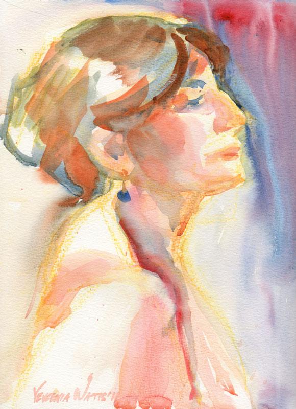 Watercolor Face Profile