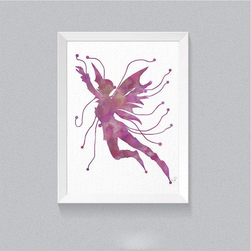 800x800 Watercolor Fairy Wall Decor Fairy Art Print Fairy Nursery Decor