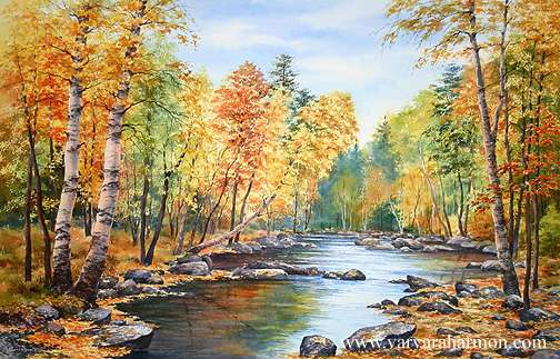 504x323 Original Watercolor Landscape Paintings Of Maine And New England