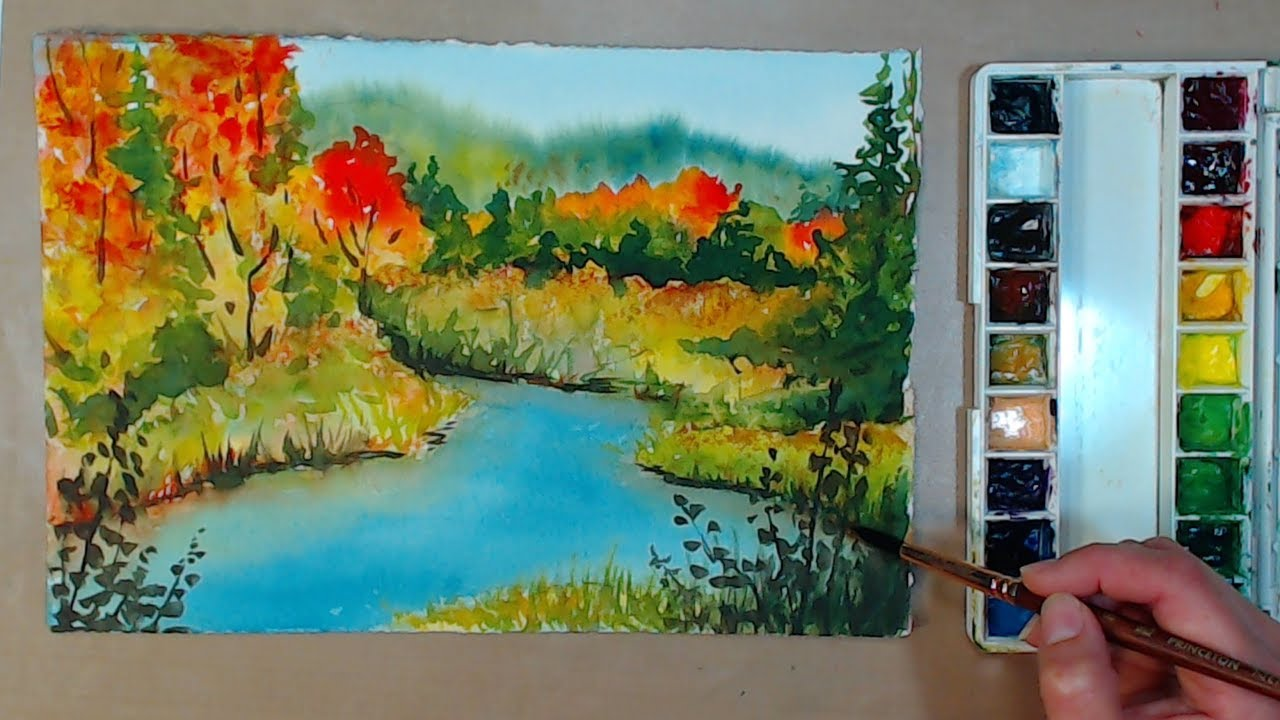 1280x720 4 Color Fall Landscape In Watercolor Beginner Friendly!